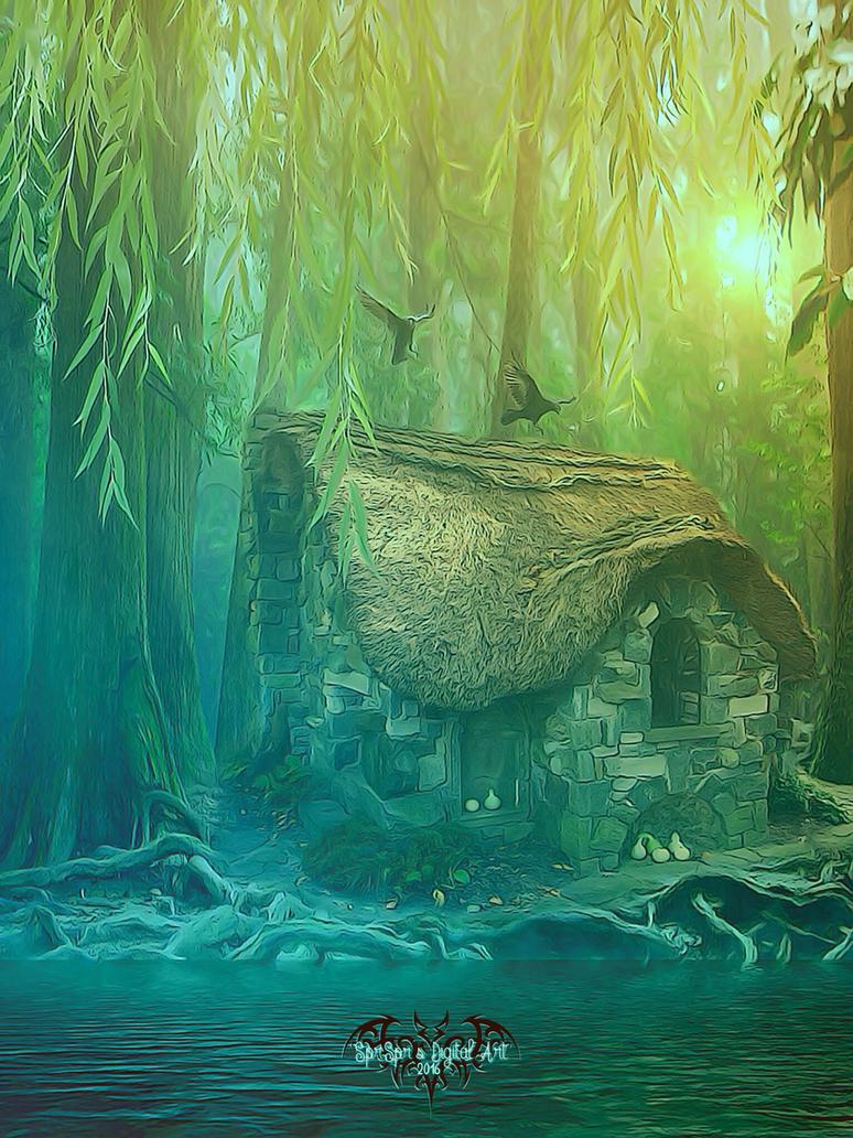 Cabin in the Woods by SPRSPRsDigitalArt