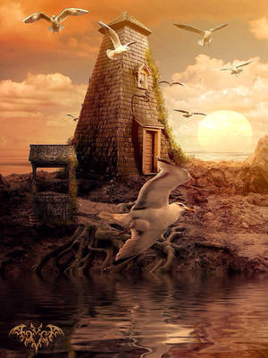 Odd house at the sea by SPRSPRsDigitalArt