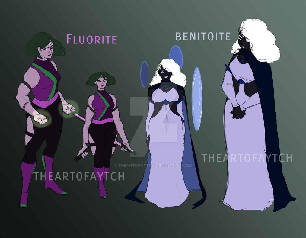 Fluorite and Benitoite by TheArtofAytch