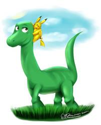 The Good Dinosaur Meets Pikachu by blwhere