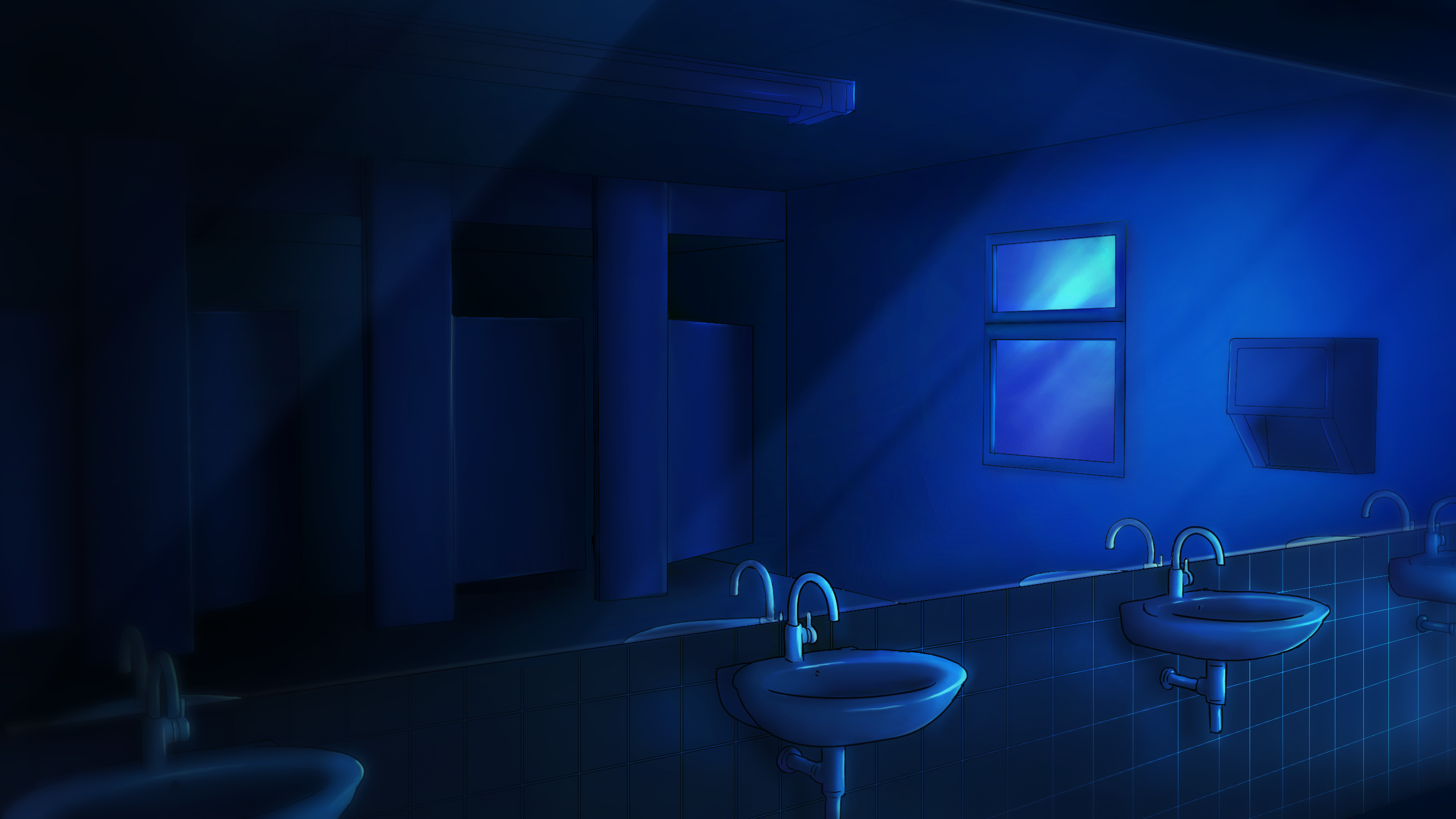 School Bathroom Night Time By Enigma Xiii On Deviantart