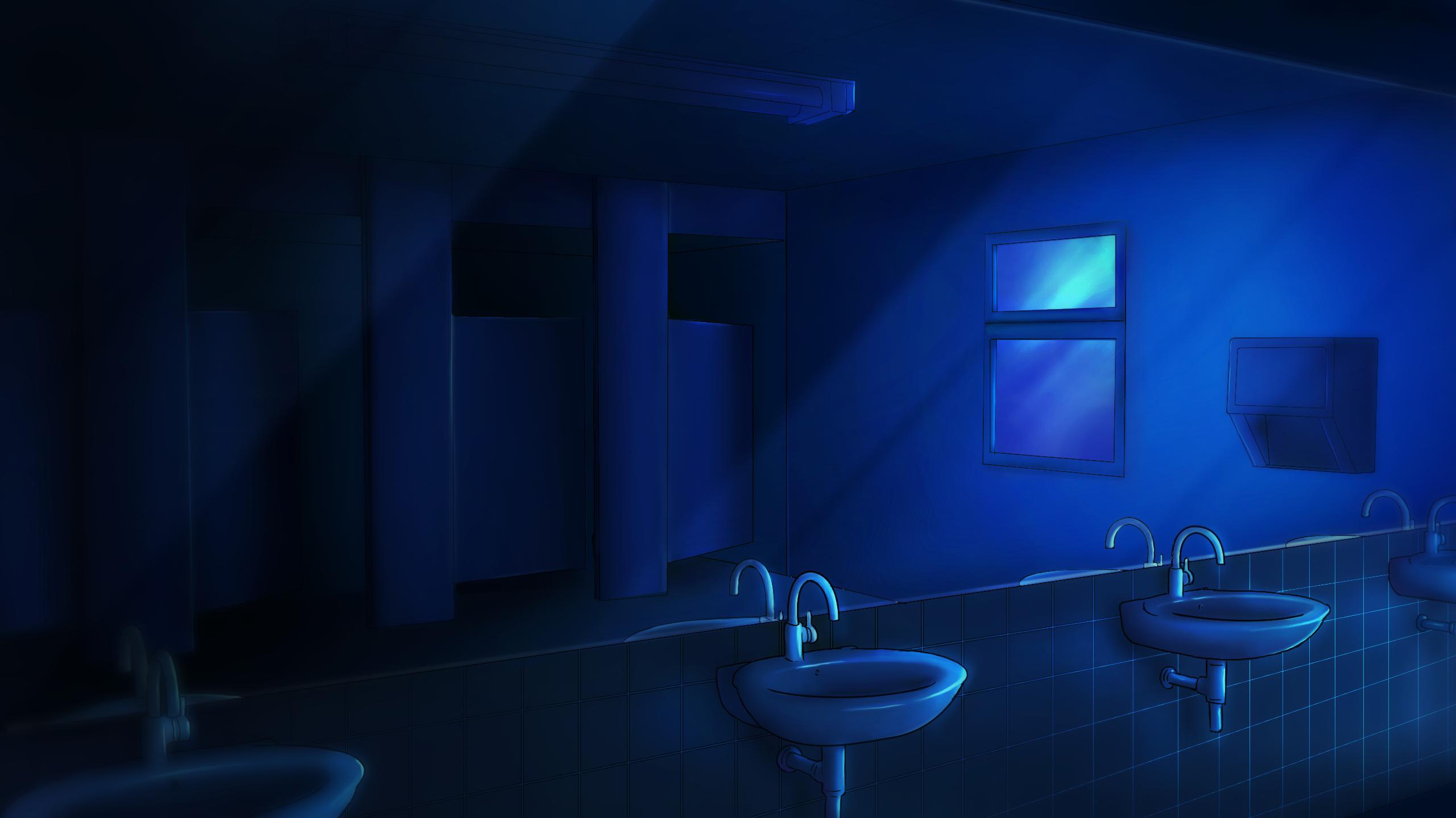 School Bathroom (Night time) by Enigma-XIII