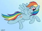 Rainbow Dash in the sky