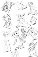 Cake and Fionna Sketch Dump by SireneTzukiDark