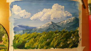 Landscape with acrylic painting