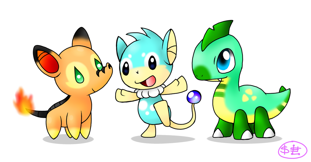 Fakemon starters by Spice5400 on DeviantArt