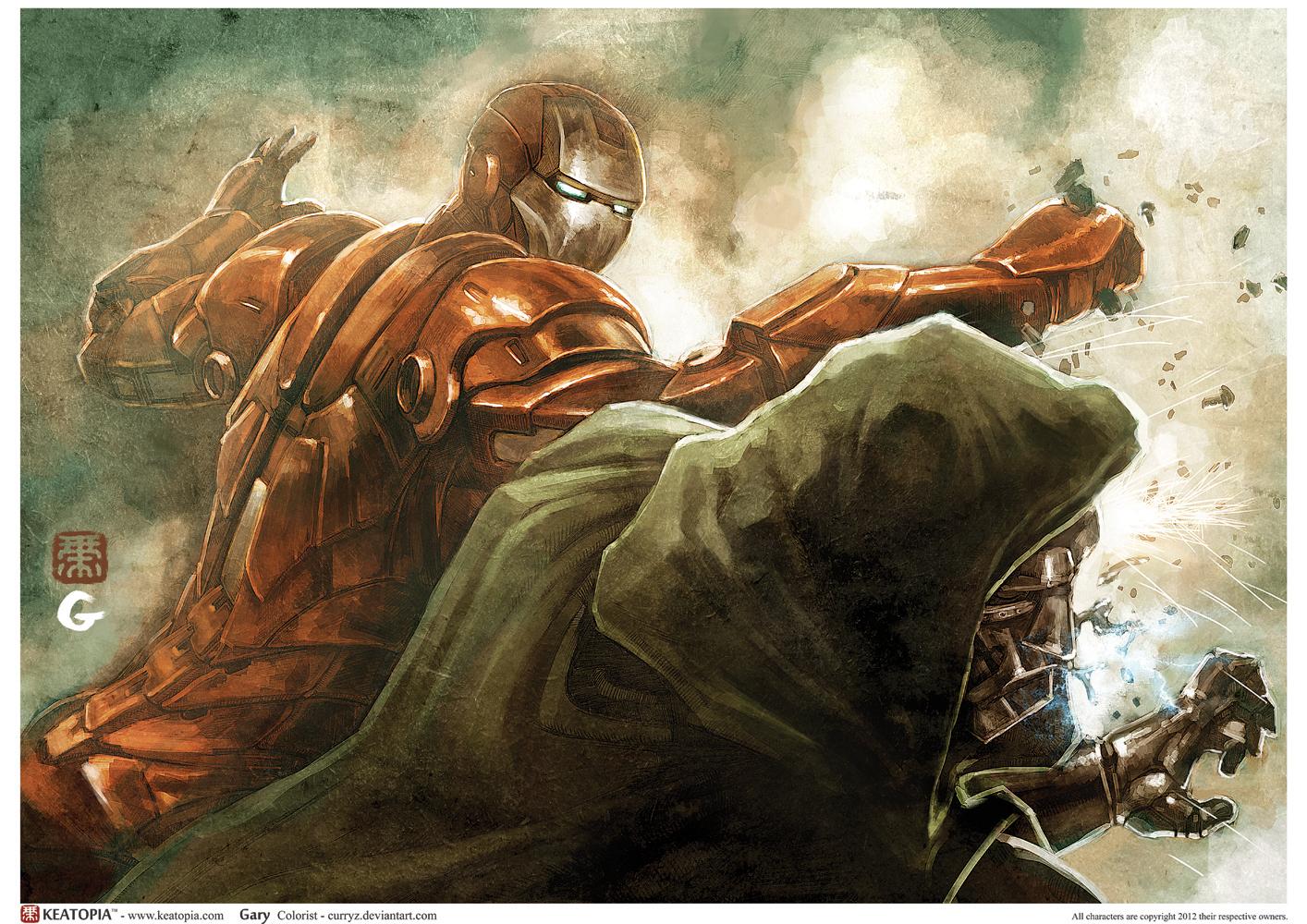 Iron vs Dr Doom Colored by Keatopia