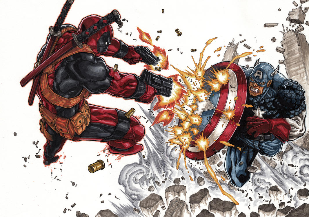 DeadPool vs Captain America by Keatopia