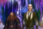 Gimli and Legolas in the Glittering Caves