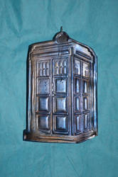 Polymer Clay Tardis - Stamp and Pearl Ex Test (1A)