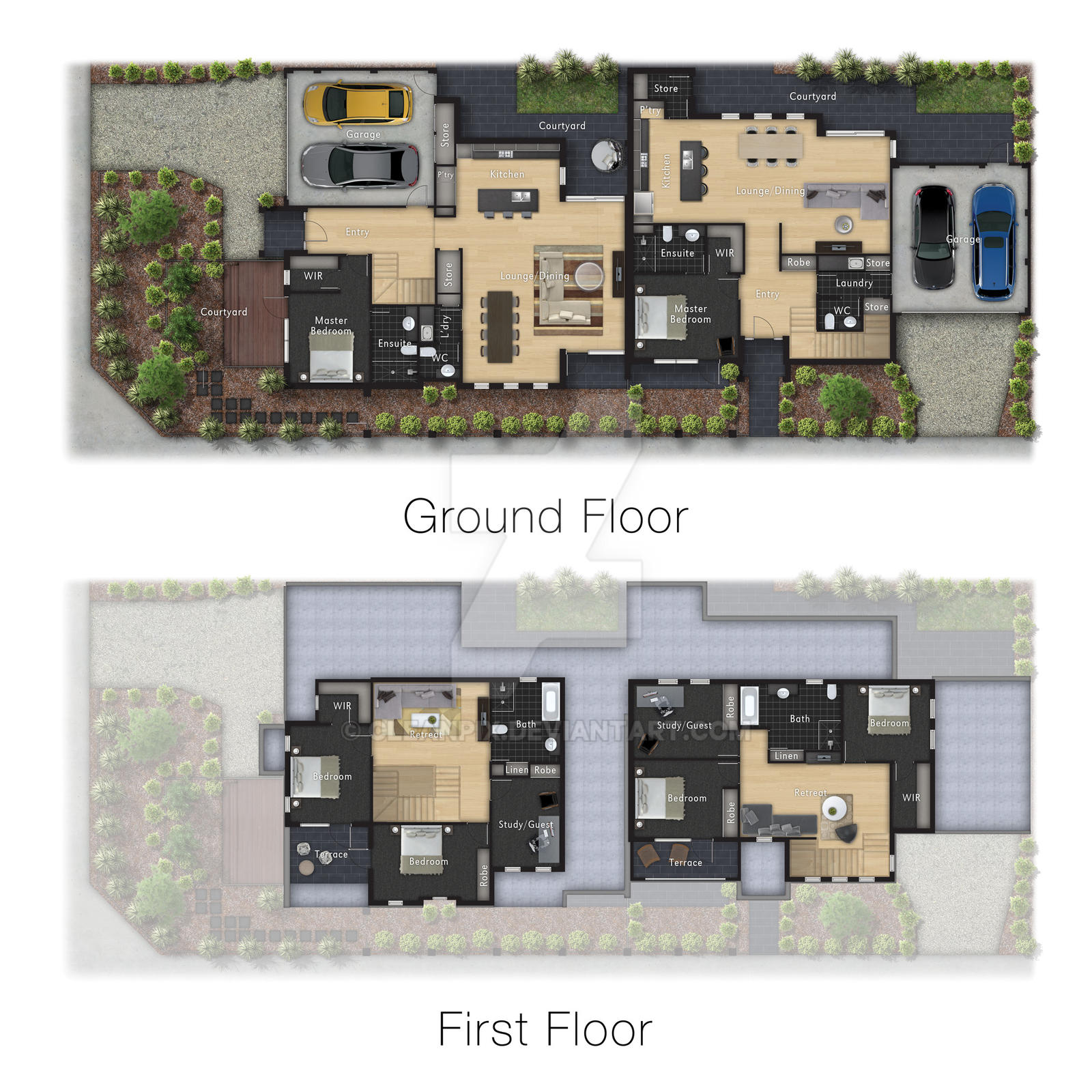 Architecture colour floor plan render by cleanpix on for Rendered floor plan