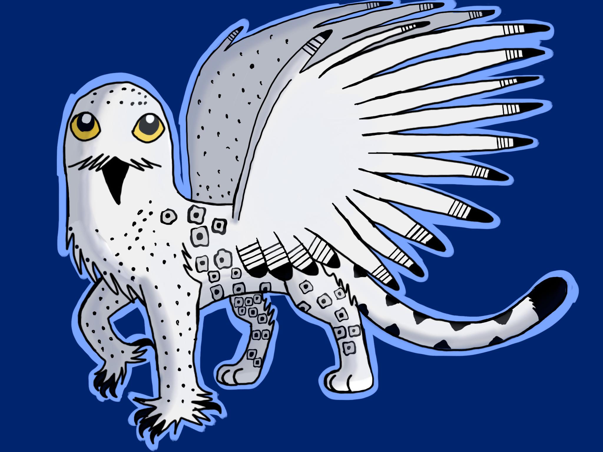 Snowy owl snow leopard griffin*request* by barnowlgurl23