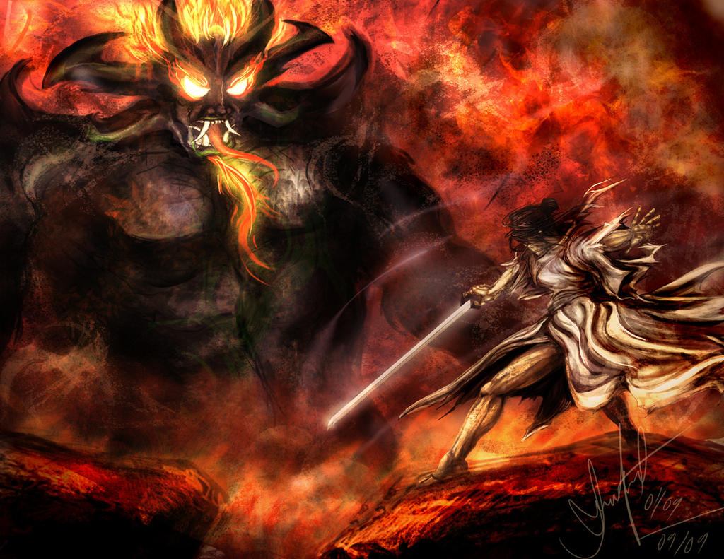 Samurai Jack vs Aku by Dream-Echo