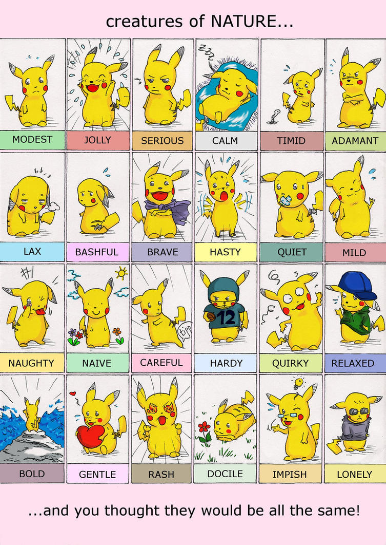 Natures Of Pokemon Pikachu Style By Puddingpanic On Deviantart
