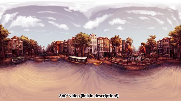 Biking in Amsterdam (360 Illustration/Video)
