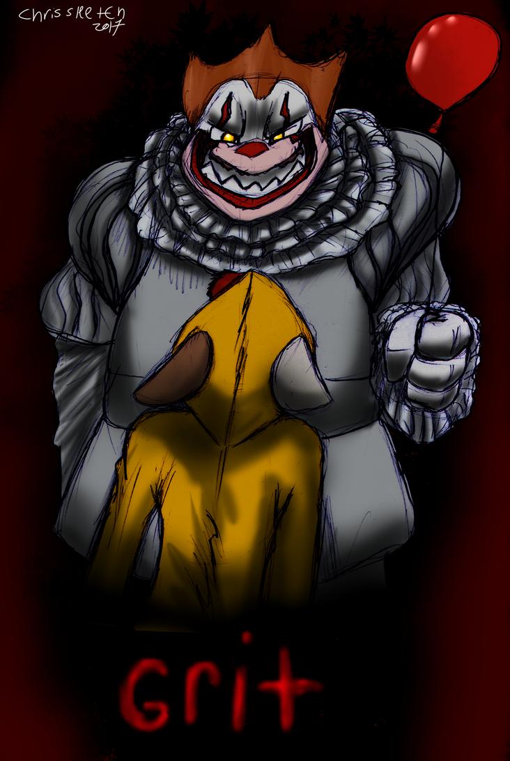 Dk halloween fan art: Grunnywise the drunken clown by ChrisSketch28