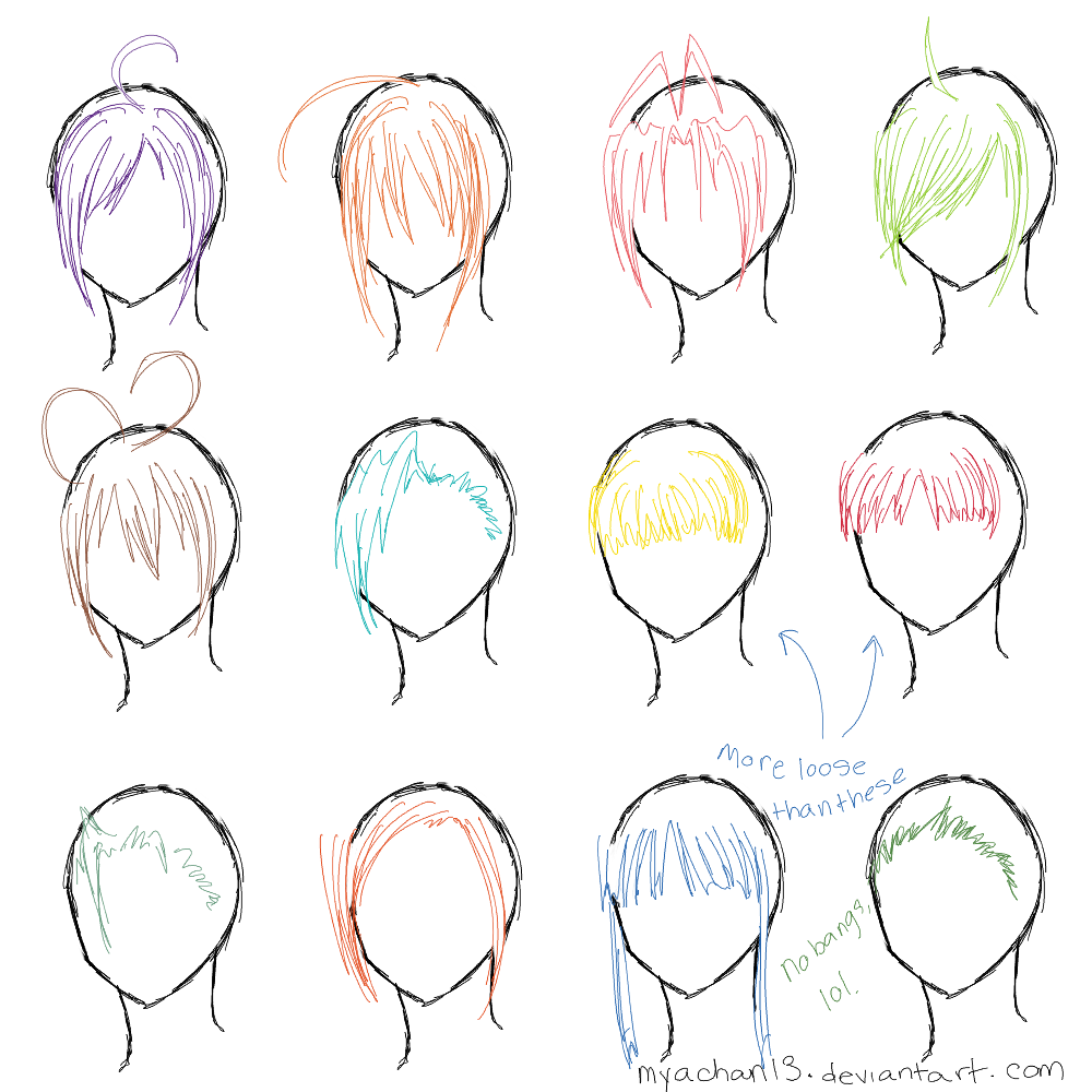 how to draw girl hair from the side