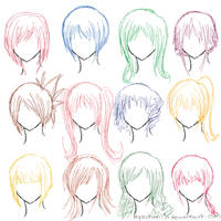 Hair Ref - 12 Hairstyles by MyaChan13