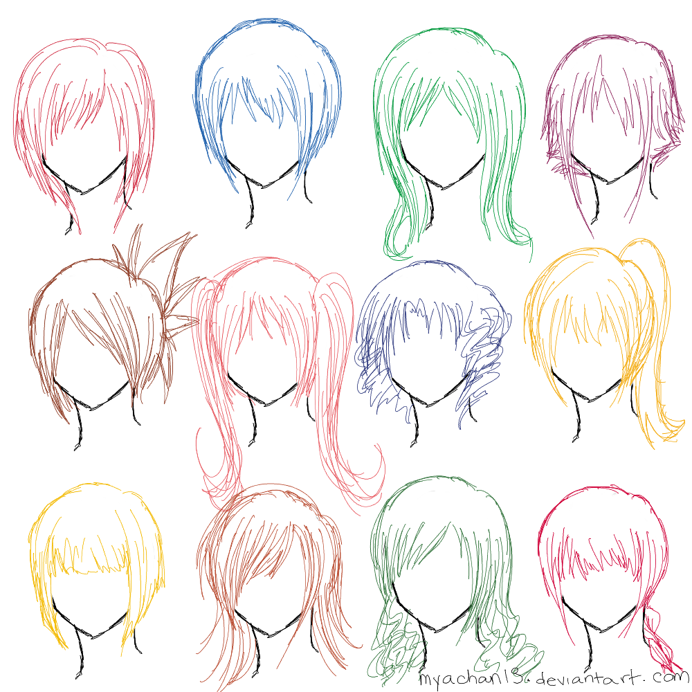 Girl Hairstyle Reference: 12 Hairstyles By MyaChan13 On DeviantArt