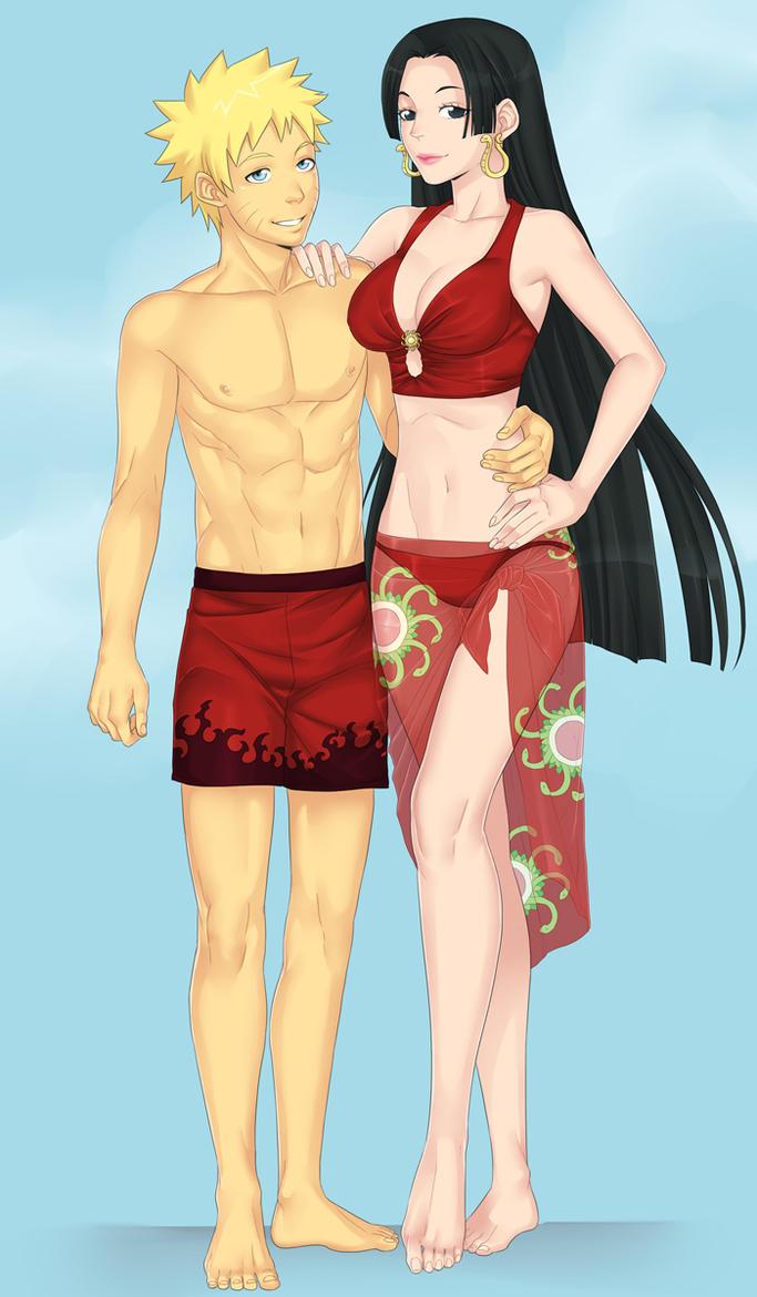 Naruto and Boa Hancock by LinART