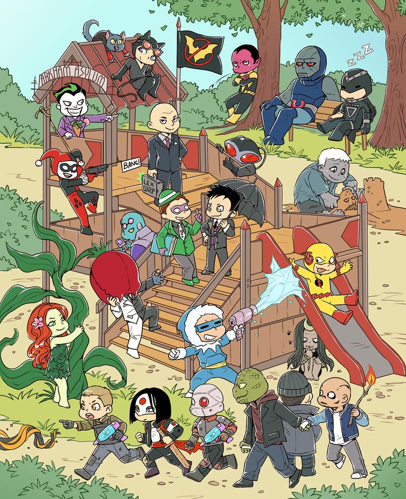 Chibi-supervillains DC by LinART