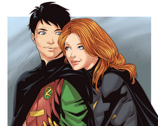 Robin and Batgirl by LinART