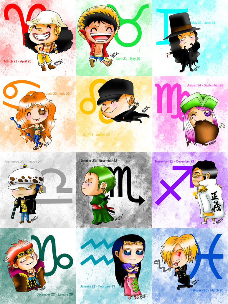 Anime Characters Born On July 7 : One piece zodiac new version by brutaltomoko on deviantart