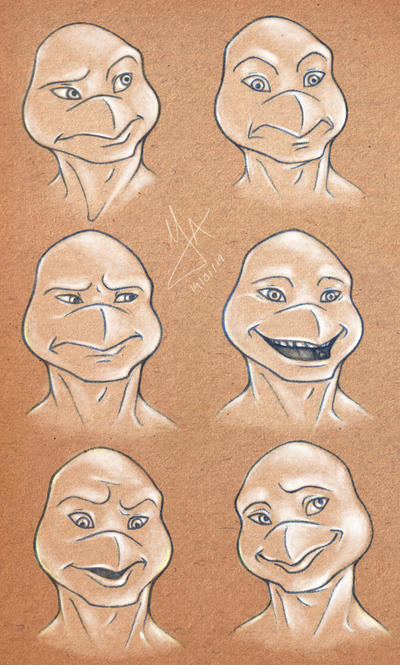 Leo's faces by Violette-Aner