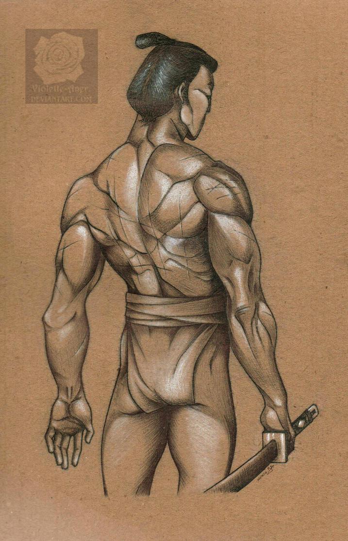 A warrior's back by Violette-Aner