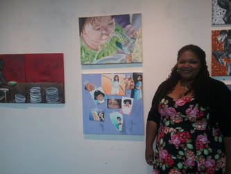 Me and my paintings at Art Show by RobynnLee