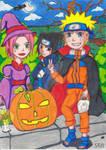 Naruto Sasuke und Sakura auf Helloweenzug