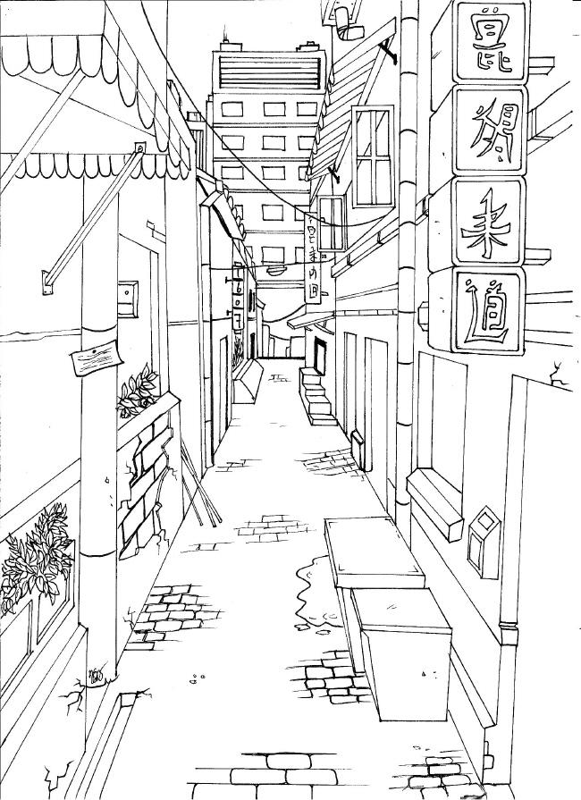 Japanese City - Empty streets by Haraigoshi on DeviantArt