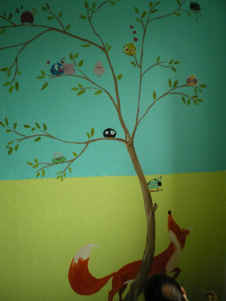 Wandgestaltung kinderzimmer wiese