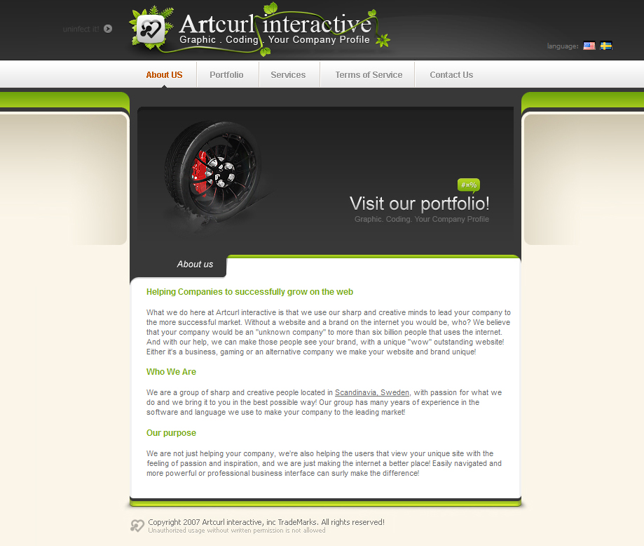 Artcurl Website Mockup
