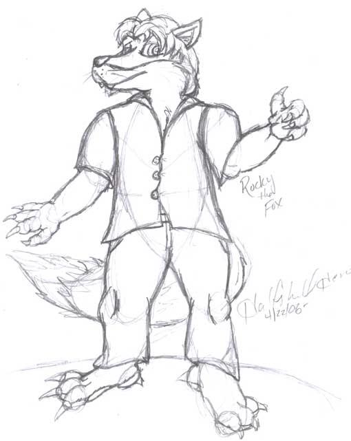 Rocky The Fox sketchy by Halfshell