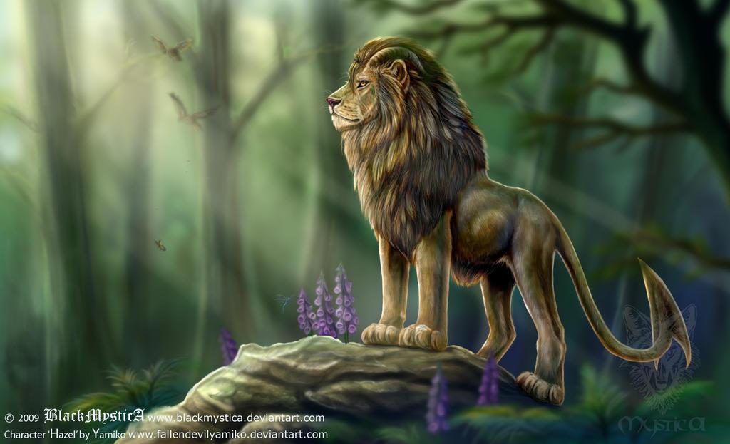 Hazel, Earth Demon as lion by BlackMysticA