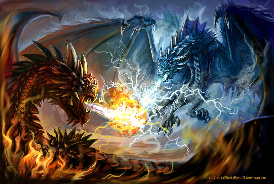 A battle of fire and cold lightning by FelisGlacialis