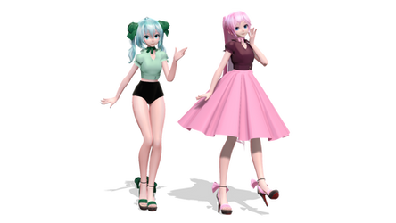 // 50's Girls // Miku and Luka by MarsIssey