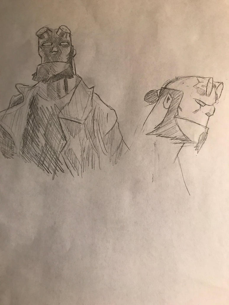 Hellboy doodles by CharismaticWolverine