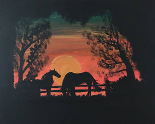 Horse Silhouette Painting by BiscuitRollz