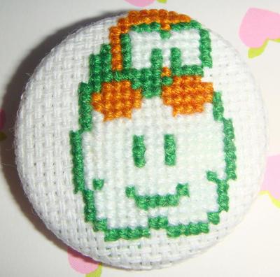 Lakitu cross stitch pin by pixel8bit