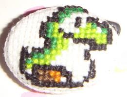 Baby Yoshi cross stitch pin by pixel8bit