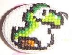 Baby Yoshi cross stitch pin