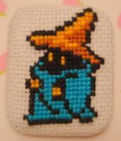 Black Mage cross stitch pin by pixel8bit
