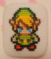 Link cross stitch pin by pixel8bit