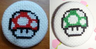 MarioMushrooms crossstitch pin by pixel8bit
