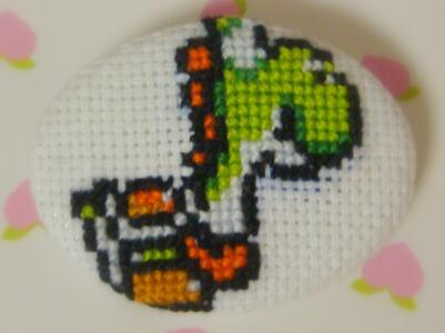 Yoshi cross stitch pin by pixel8bit