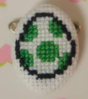 Yoshi Egg cross stitch pin by pixel8bit