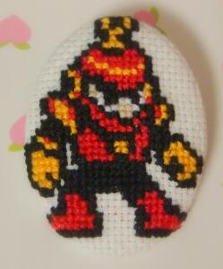 Ring Man cross stitch pin by pixel8bit