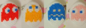 Pacman Ghosts cross stitch pin by pixel8bit